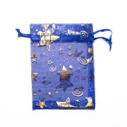 Blue organza bag with star and moon decoration