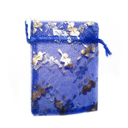 "Sachet organza bleu décoration ""I Love You"""