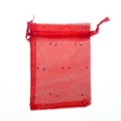 Sachet organza rouge décoration strass