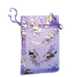 """Sachet organza violet décoration """"I Love You"""""""