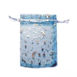 Bolsa de organza azul estrellado azul cielo decoración