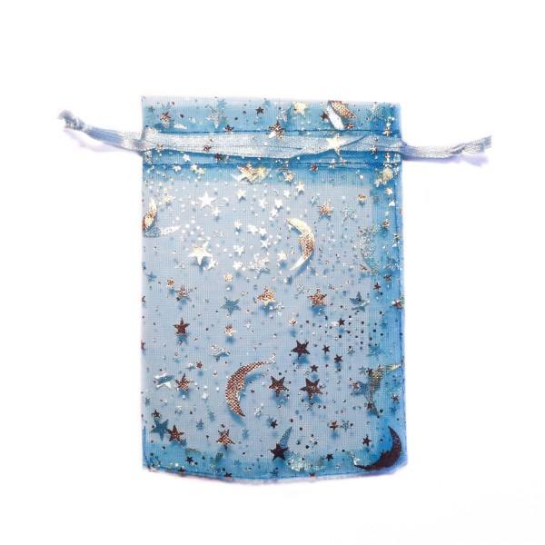 Sachet organza bleu azur décoration ciel étoilé