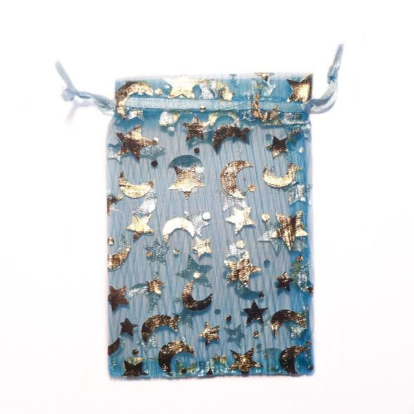 Sachet organza bleu azur décoration étoile et lune