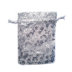 White organza bag with stars and moon pattern