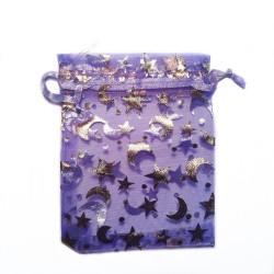 Organza Bolsa de luna púrpura y decoración de la estrella