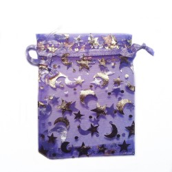 纱袋紫月亮和星星装饰