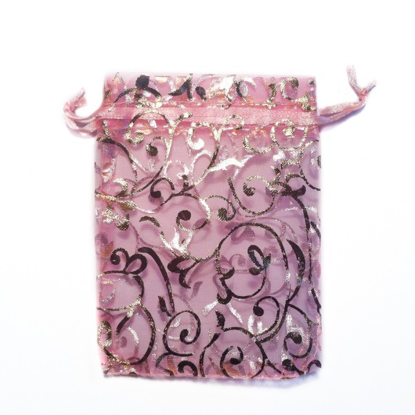 Sachet organza rose décoration plante
