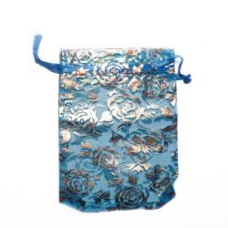 Bolsa organza azul azul decoración de color rosa