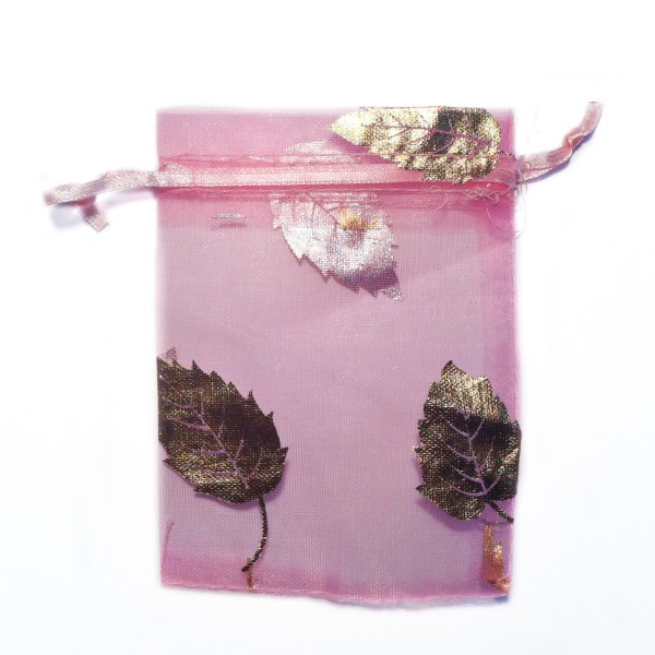 Sachet organza rose décoration feuille d'arbre