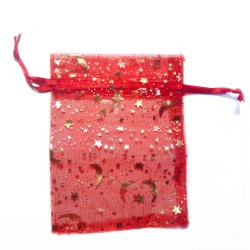 Red organza bag with starry sky decoration