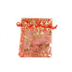 Organza Bolsa de decoración roja rosa