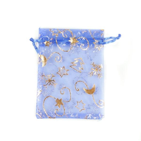 Sachet organza bleu décoration noël