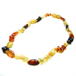 Necklace of amber baby multicolor pearl round and olive