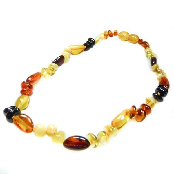 Collier d'ambre bébé multicolore perle ronde et olive