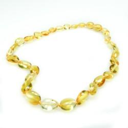 Collier d'ambre bébé, perle olive couleur citron