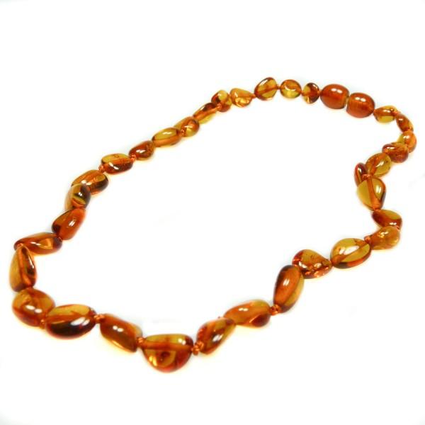 Collier d'ambre bébé, perle olive couleur cognac