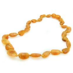 Collier d'ambre bébé couleur miel brut, perle olive