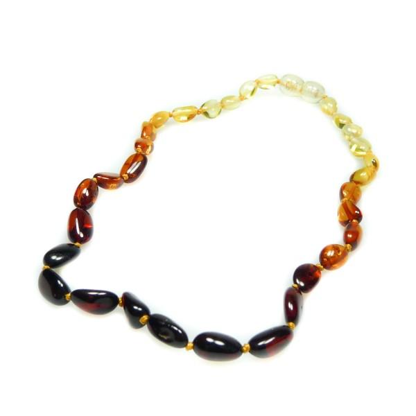 Collier d'ambre pour bébé, perle olive couleur arc en ciel