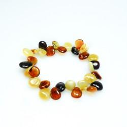 Bracelet ambre bébé multicolore, avec pétale d'ambre