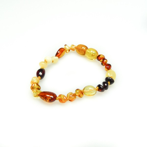 Bracelet en ambre pour bébé mix perle ronde et olive