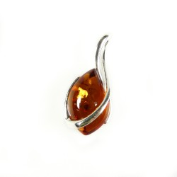 Cognac amber and 925/1000 silver pendant
