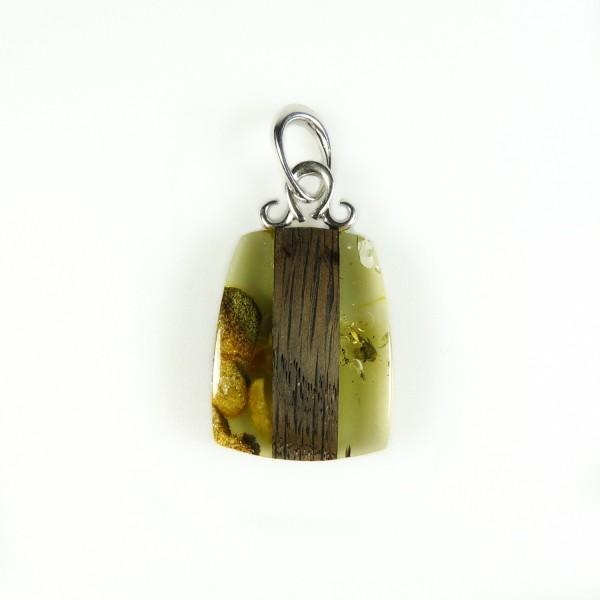 Pendentif en Ambre naturel, bois noir et Argent 925/1000