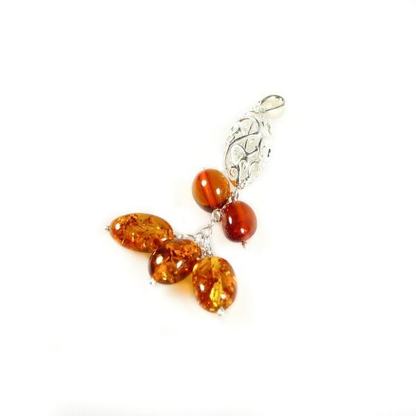 Pendentif en Argent et perle d'ambre naturel