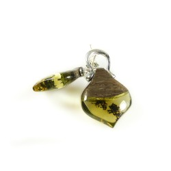 Natural Amber and Precious Wood Earrings with Silver