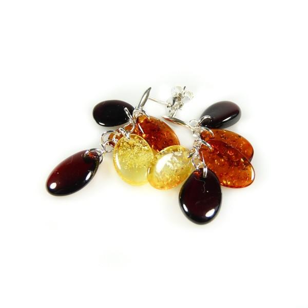 Boucle d'oreille en Argent et pétale d'ambre naturel multicolore