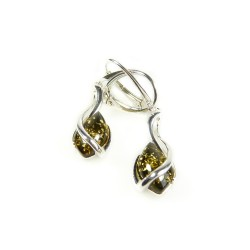 925/1000 Green Amber and Silver Earring