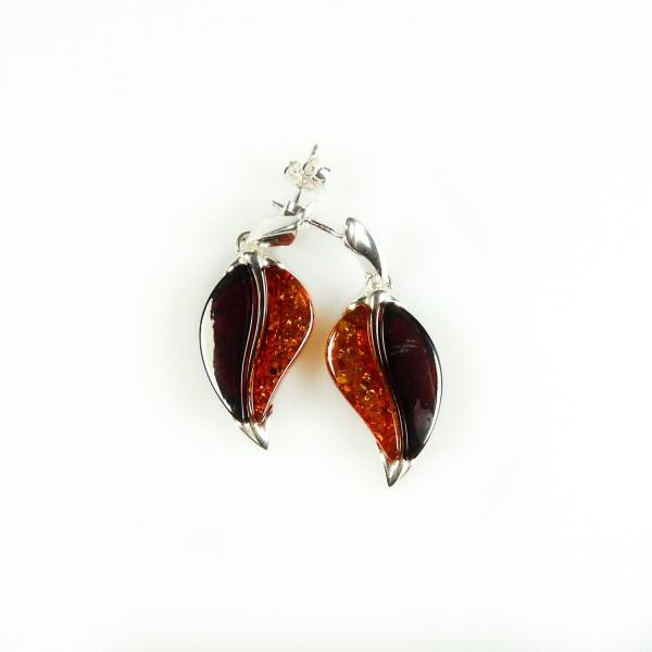 Boucle d'oreille grain de café en Ambre naturel bicolore et Argent