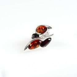 Ohrring Bernstein bicolor (Brandy und Kirsche) und 925/1000 Silber