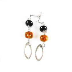 Amber cognac earring on Silver 925/1000
