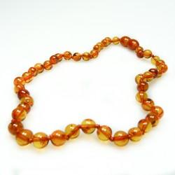 Baby-Bernsteinkette gehobene Cognac Farbe, extra runde Perle