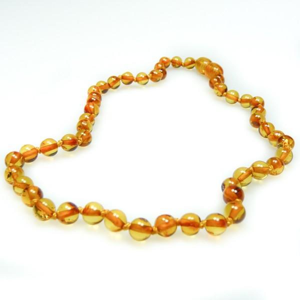 Collier d'ambre pour bébé couleur cognac haut de gamme, perle extra ronde