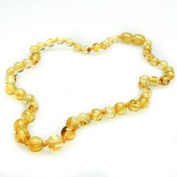 Collier d'ambre bébé couleur citron, perle extra ronde