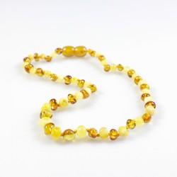 Collier d'ambre bébé perle ronde, couleur miel et blanc