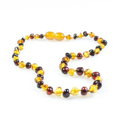 Baby amber necklace, honey and cherry round pearl