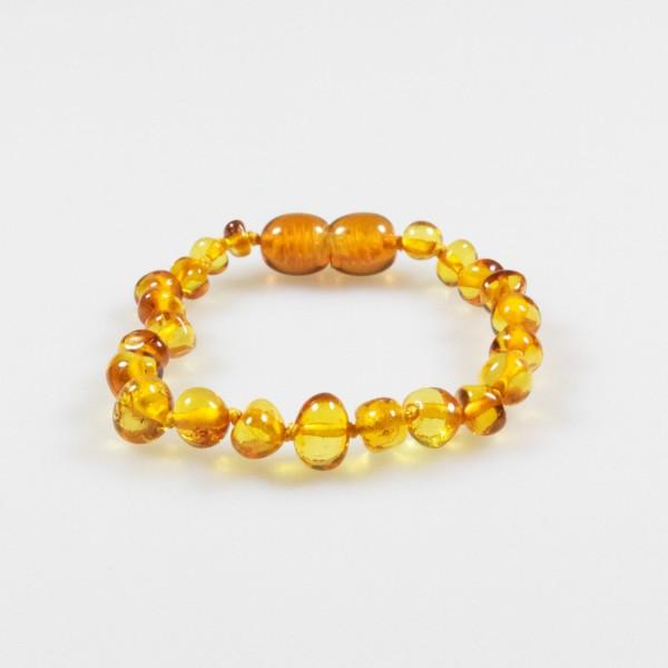 Bracelet ambre bébé couleur cognac
