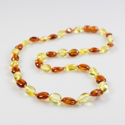 Amber pearl necklace bicolour olive size Adult