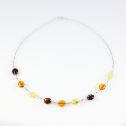 Natural amber necklace with multicolored amber pearl