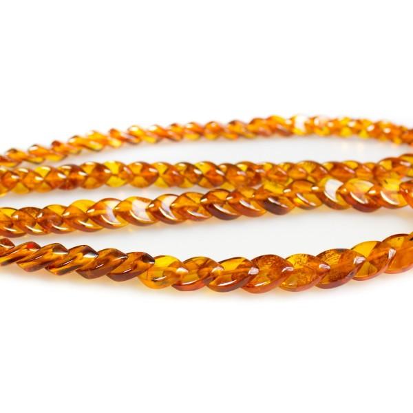 Collier d'ambre naturel long, feuille d'ambre couleur cognace