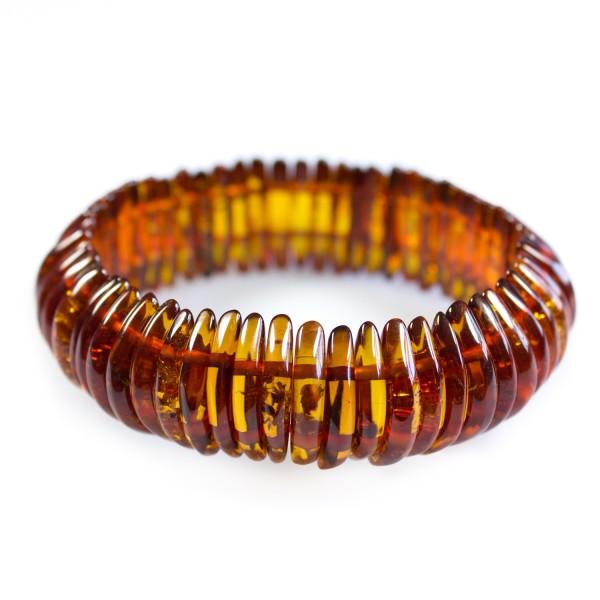 Bracelet ambre cognac demi-lune