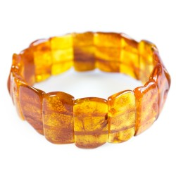 Bracelet ambre adulte forme naturel couleur miel
