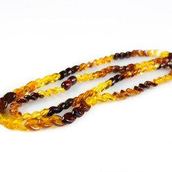 Necklace long natural amber multicolored diamond stone