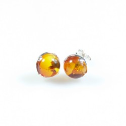 Silver and Amber earrings natural color honey / cognac