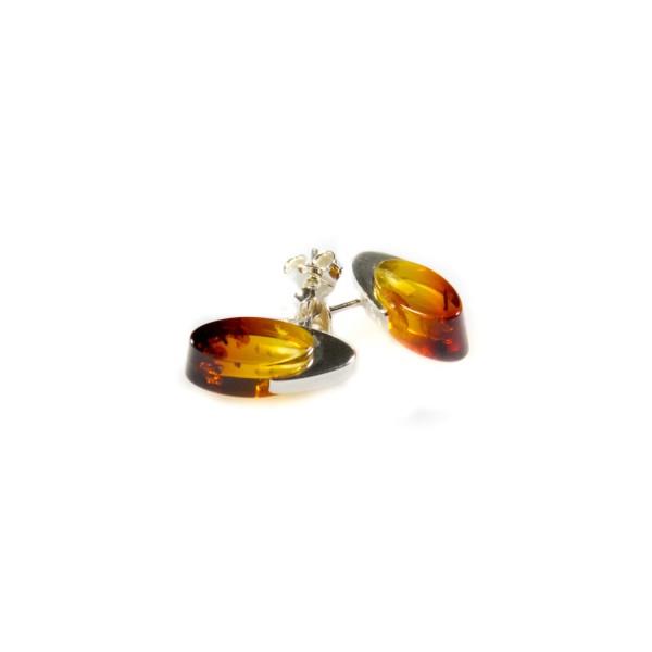 Boucle d'oreille Ambre miel et Argent 925/1000