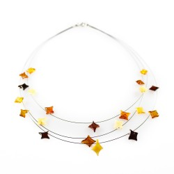 Natural amber necklace with star shaped pearl