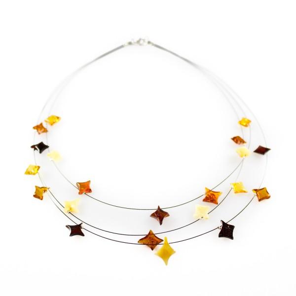 Collier d'ambre naturel avec perle en forme d'étoile