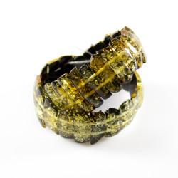 Bracelet en ambre vert taille irrégulière